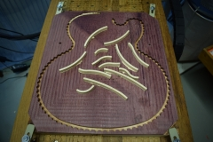 Purpleheart slide guitar binding segments